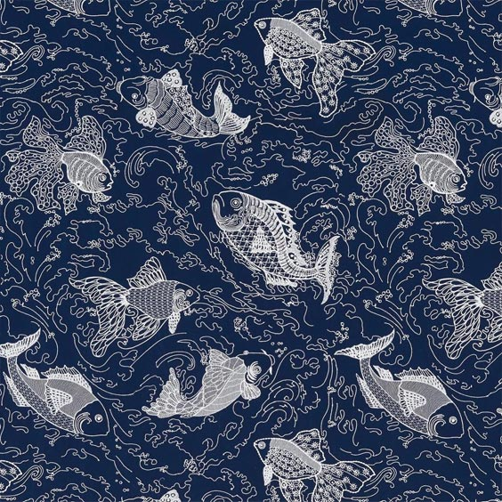 le tissu motif poisson refait surface coussin sur canap. Black Bedroom Furniture Sets. Home Design Ideas